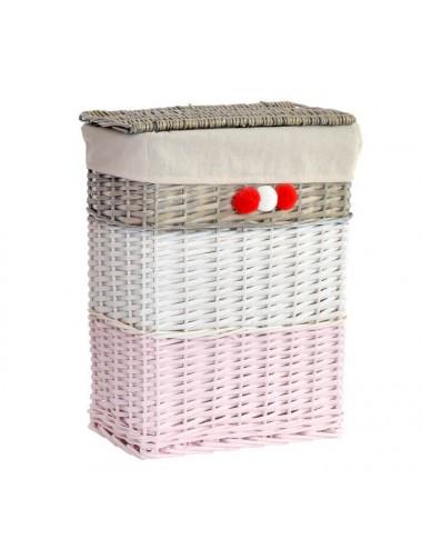 Ropero pequeño rectangular mimbre tricolor pompones