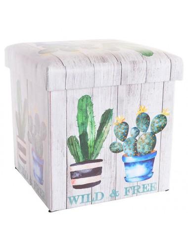 """Caja puff plegable asiento acolchado """"Wild & Free"""""""