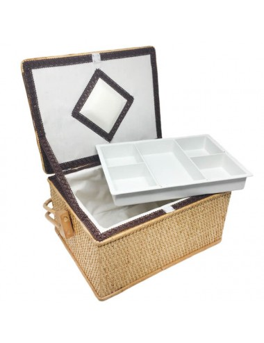 Costurero rectangular con bandeja (miel)