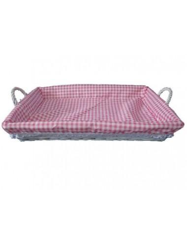 Bandeja plancha mimbre lacado blanco tela rosa/blanca