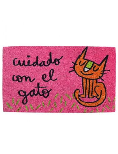 """Felpudo rosa """"Cuidado con el gato"""""""