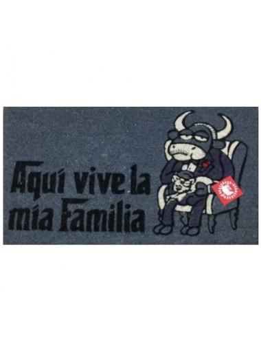"""Felpudo gris """"Aquí vive la mia Familia"""""""