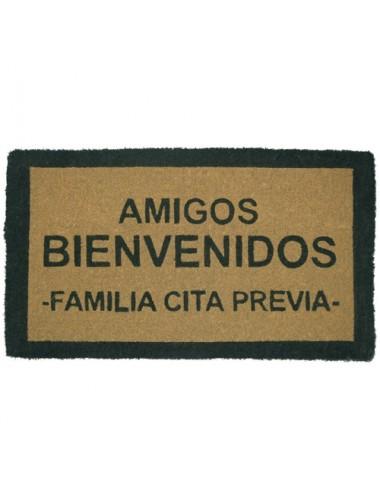 """Felpudo marrón """"Amigos bienvenidos"""""""