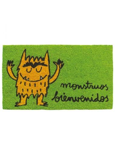 """Felpudo verde """"Monstruos bienvenidos"""""""