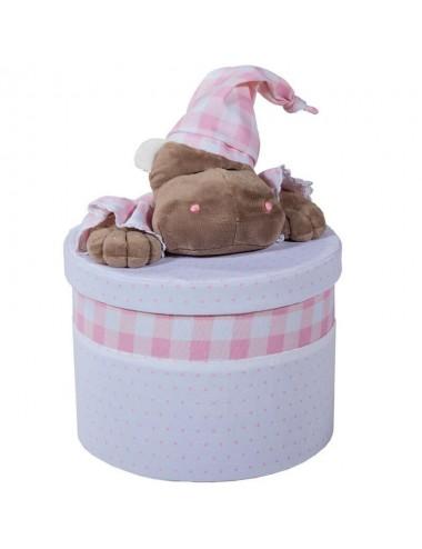 Contenedor redondo blanco/rosa con peluche - Varios tamaños