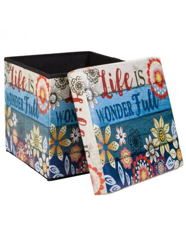 "Caja almacenaje plegable tapa acolchada ""Life is"""