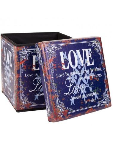 """Caja almacenaje plegable tapa acolchada """"Love"""""""