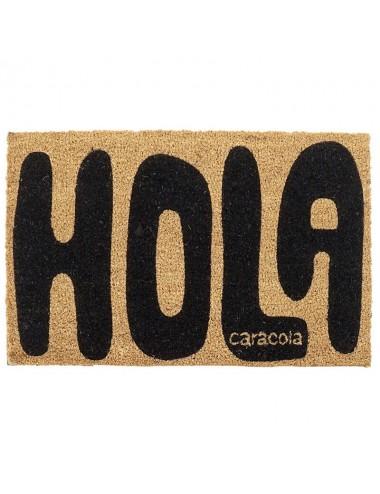 """Felpudo original  """"Hola"""" en negro"""