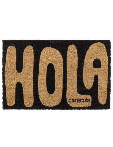 """Felpudo original  """"Hola"""" en marrón"""