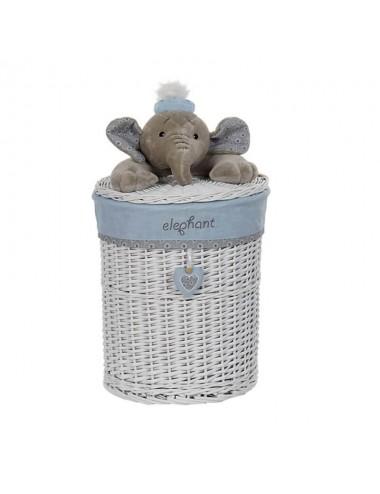 Cesto ropero redondo pequeño con peluche elefante