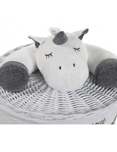 Cesto ropero redondo pequeño con peluche unicornio blanco