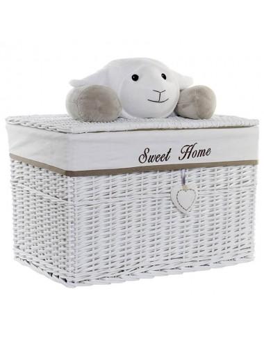 Baúl rectangular mimbre blanco peluche oveja