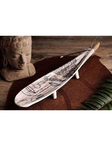 Portasticks hoja de coco con patas y figuras, 40 cm