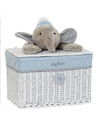 Baúl rectangular mimbre blanco peluche elefante