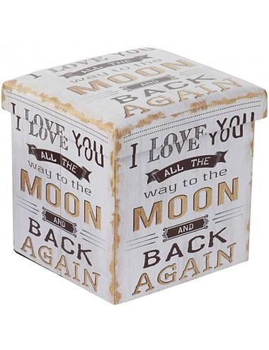 """Caja puff plegable asiento acolchado """"I love you..."""""""