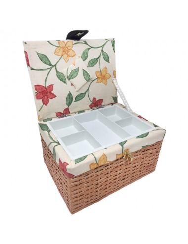 Costurero mimbre rectangular tapa forrada flores