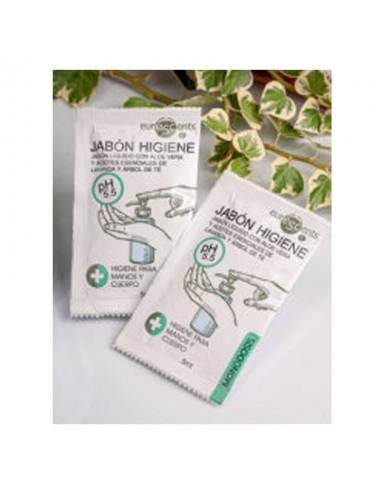 Monodosis en sobre jabón higiene, 5 ml.