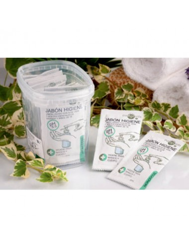 Tarro 25 unds. de monodosis en sobre de jabón higiene, 5 ml.