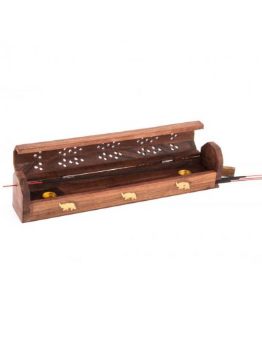 Caja de madera con tapa para incienso, soporte y almacenaje