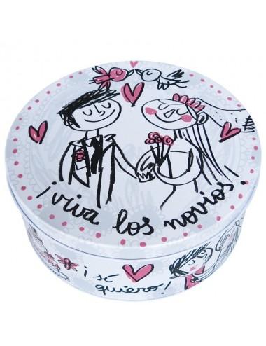 """Caja metálica original diseño Anna Llenas """"Viva los novios!"""""""