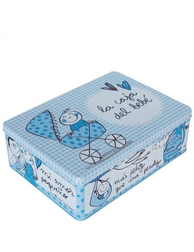 "Caja metálica original diseño Anna Llenas ""la caja del bebé"" azul"
