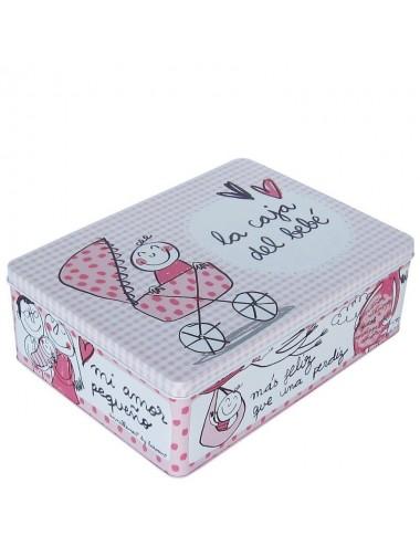 """Caja metálica original diseño Anna Llenas """"la caja del bebé"""" rosa"""