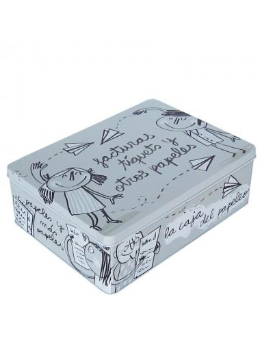 """Caja metálica original diseño Anna Llenas """"facturas, tíquets y otros papeles"""""""