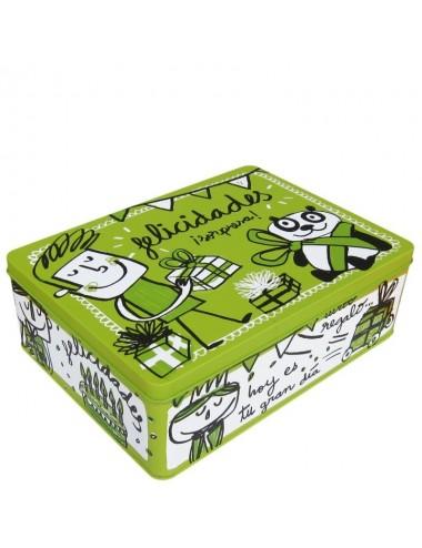 """Caja metálica original diseño Anna Llenas """"felicidades"""""""