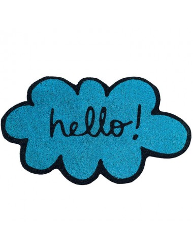 "Felpudo nube azul turquesa ""hello!"""