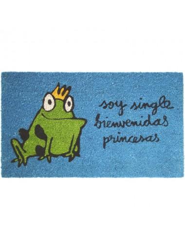 "Felpudo azul turquesa ""soy single bienvenidas princesas"""