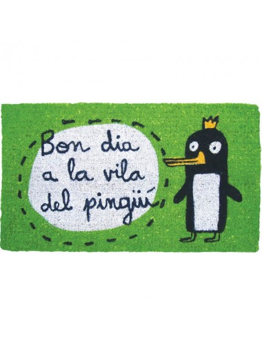"Felpudo verde ""bon dia a la vila del pingüí"""