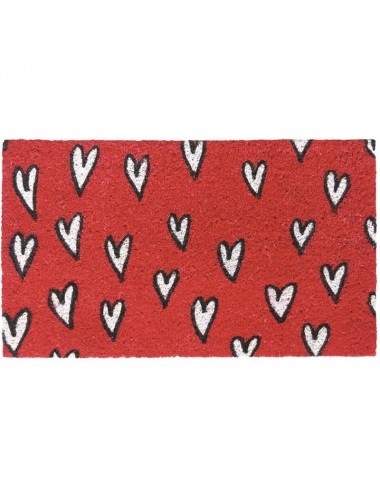 Felpudo rojo con corazones