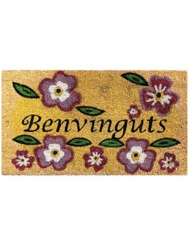 """Felpudo marrón con flores """"Benvinguts"""""""