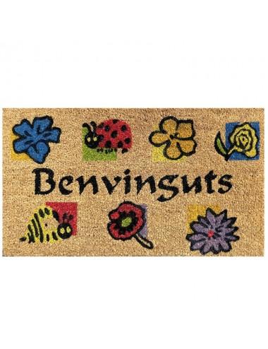 """Felpudo marrón con flores 2 """"Benvinguts"""""""