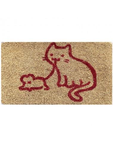 Felpudo pequeño marrón con gato y ratón  rojo