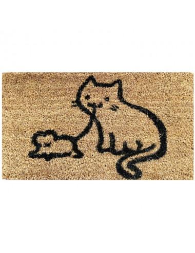 Felpudo pequeño marrón con gato y ratón negro