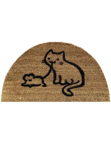Felpudo media luna marrón con gato y ratón negro