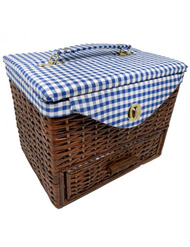Costurero mimbre oscuro grande asa y cajón tapizado Vichy azul