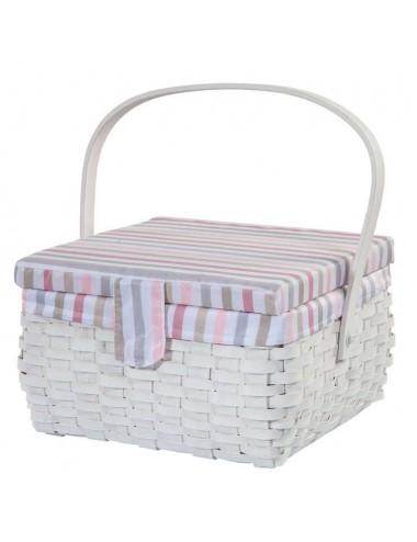 Costurero madera trenzada blanca tapizado rallado tonos rosas