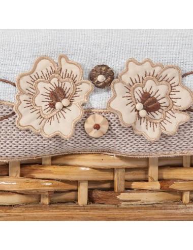 Bandeja pequeña tireta de junco tela blanca/marrón