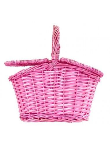 Cesta picnic ovalada mimbre con tapas rosa