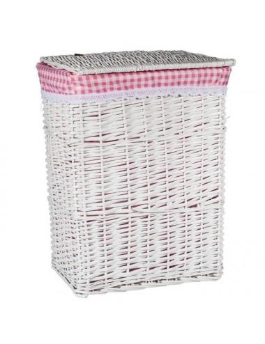 Ropero grande rectangular mimbre blanco forro cuadros rosa