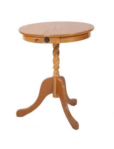 Mesa redonda madera lacada roble con cajón